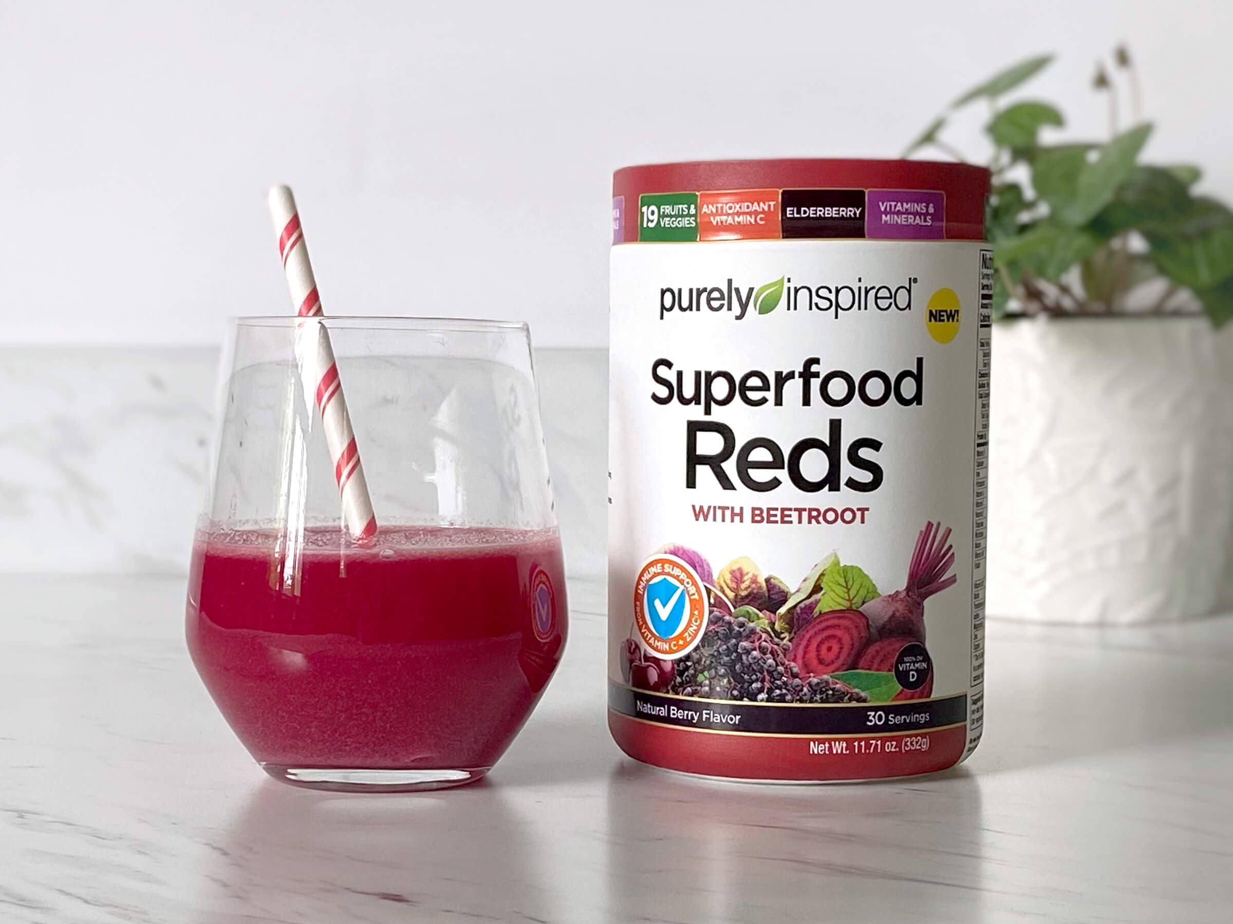 FRUITS&ANTIOXIDANT 19 VEGGIES VITAMINS & MINERALS ELDERBERRY VITAMINC purelydinspired NEW! Superfood Ředs WITH BEETROOT SUPPORT VITAMIN D Natural Berry Flavor 30 Servings Net Wt. 11.71 oz. (332g) INCIA FRUITS&ANTIOXIDANT 19 VEGGIES VITAMINS & MINERALS ELDERBERRY VITAMINC purelydinspired NEW! Superfood Ředs WITH BEETROOT SUPPORT VITAMIN D Natural Berry Flavor 30 Servings Net Wt. 11.71 oz. (332g) INCIA